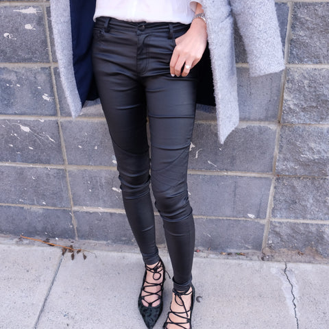 Kendall Black Wet look Skinny Jeans