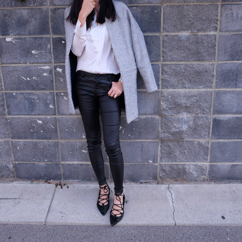 Kendall Black Wet look Skinny Jeans - HELLO PARRY Australian Fashion Label