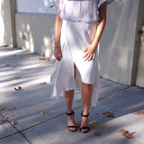 ANGELA SPLIT FLUTED SKIRT-White