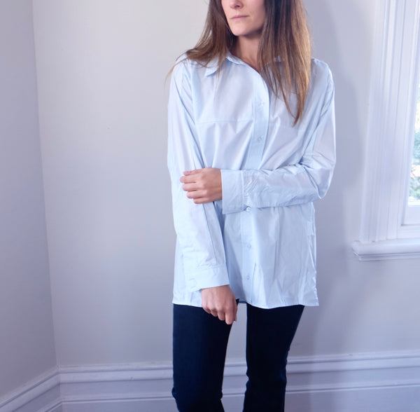 Kuistan Oversized Boyfriend Shirt -Pale Blue