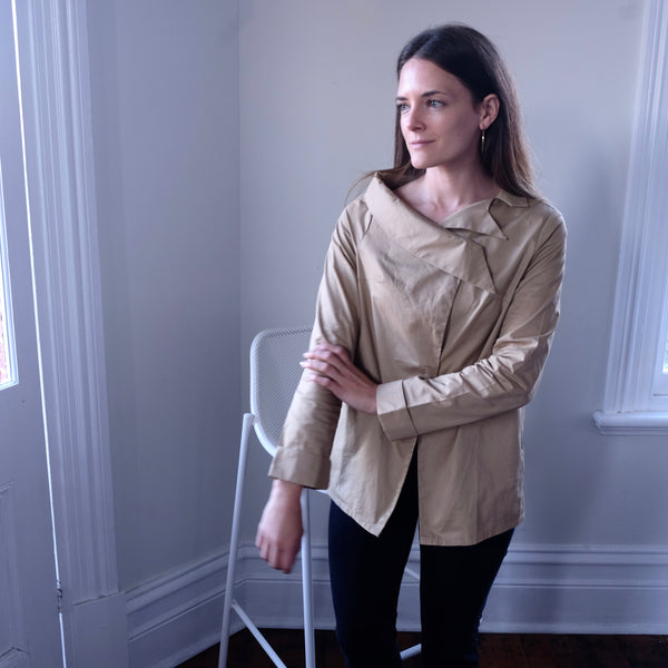 Karla Asymmetrical Collar Shirt - Camel