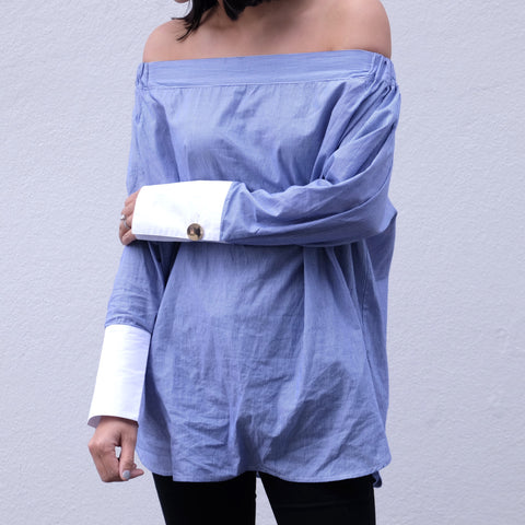 Charmayne Gold Button Off Shoulder Shirt