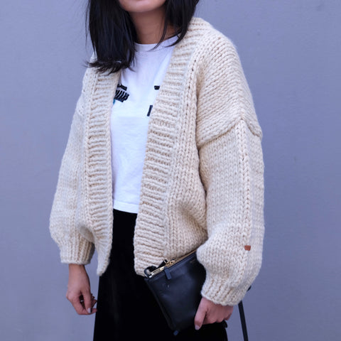 Samantha Hand Knitted Chunky Cardigan- Cream