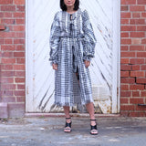 FARAH Woven Maxi Robe/Dress - BLACK KEFFIYEH