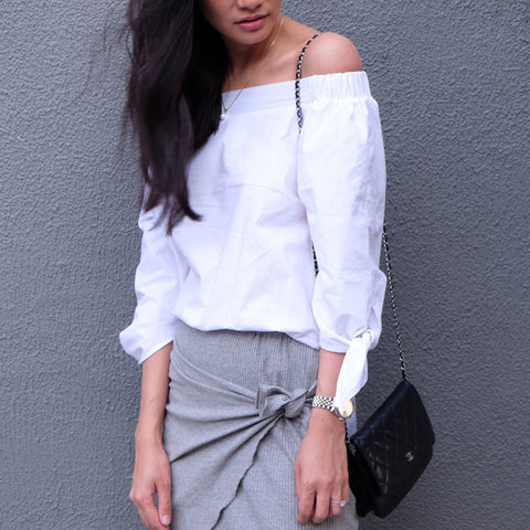 Corrie 2 Way Off-Shoulder Shirt -White - HELLO PARRY Australian Fashion Label