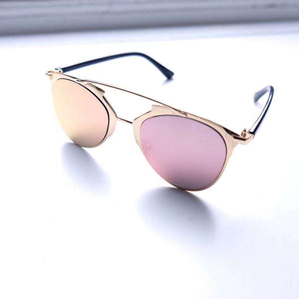 Morocco Rose Gold Frame Pink Sunglasses - HELLO PARRY Australian Fashion Label