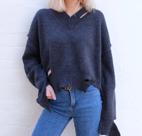 CERINA DISTRESSED KNIT JUMPER
