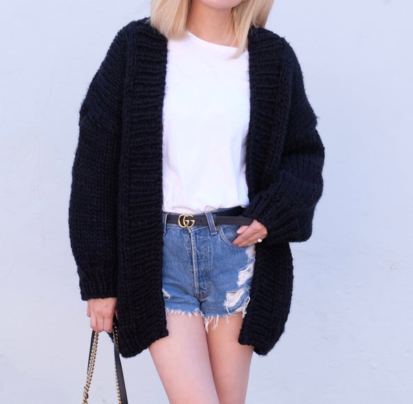 Samantha Hand Knitted Chunky Cardigan- Black