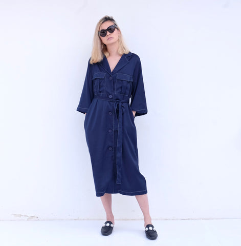 ELINE DUSTY COAT/DRESS w/Contrast Stitch - Navy
