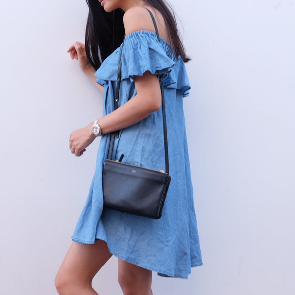 Katie Chambray Off-Shoulder Dress - HELLO PARRY Australian Fashion Label