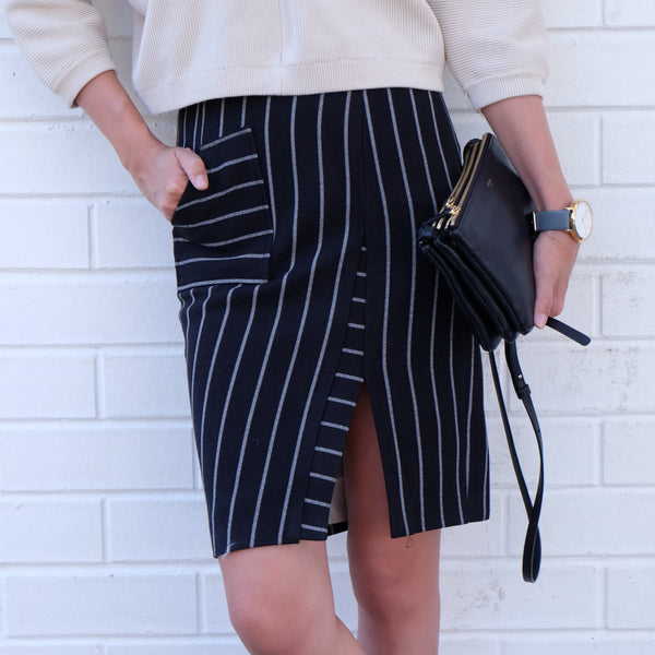 Tess Pinstripe Skirt - HELLO PARRY Australian Fashion Label