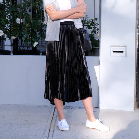 Grace Midi Pleated Skirt - Black - HELLO PARRY Australian Fashion Label