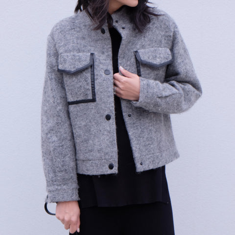 Aspen Pocket Grey Jacket - HELLO PARRY Australian Fashion Label
