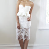 Elisa Fringe Floral Skirt - White - HELLO PARRY Australian Fashion Label