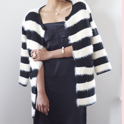 Selita Fluffy Striped Knit Long Cardigan