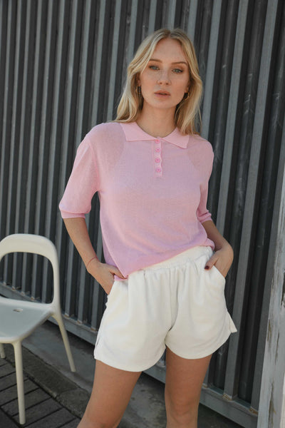 Abela Collar Knit Polo Top -Pink