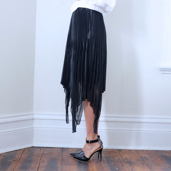 Daniela Knife Pleat Black Double Skirt - HELLO PARRY Australian Fashion Label