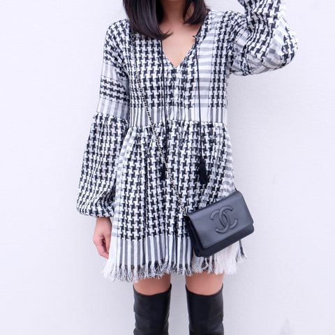 Dara Babydoll Tunic Dress - Black KEFFIYEH