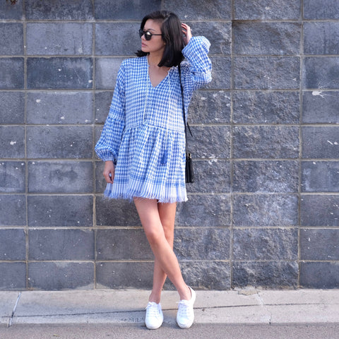 Dara Babydoll Tunic Dress - Blue KEFFIYEH