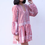 Dara Babydoll Tunic Dress - Red KEFFIYEH