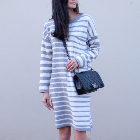 Daylen Grey Striped Sweater Knit Dress - HELLO PARRY Australian Fashion Label
