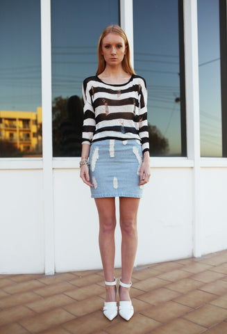 Distressed Nautical Stripe Knit - HELLO PARRY Australian Fashion Label