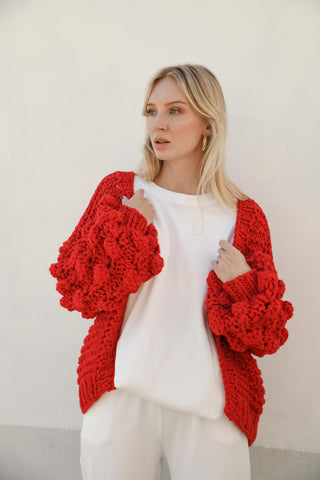 ELEANOR BUBBLE KNIT CARDIGAN- RED