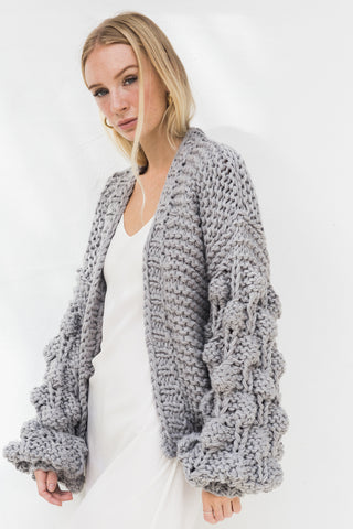 ELEANOR BUBBLE KNIT CARDIGAN -GREY