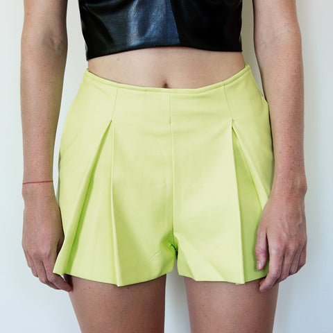 Eliza Lime Pleat Leather Skort