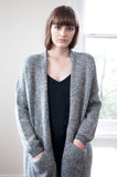 Elle Tweed Print Charcoal Coatigan