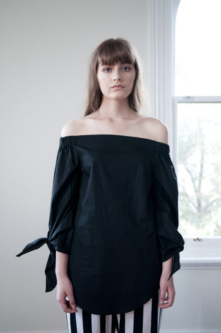 Fallon Longline Off-Shoulder Shirt -Black - HELLO PARRY Australian Fashion Label