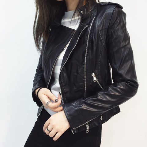 Tavia Biker Zip Vegan Leather Jacket - HELLO PARRY Australian Fashion Label
