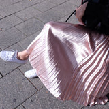 PRE- ORDER Grace Metallic Midi Pleated Skirt-Blush Pink (Ship after 19th July) - HELLO PARRY Australian Fashion Label