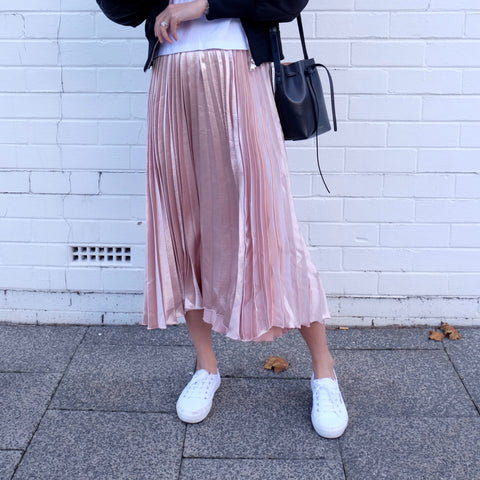 Grace Metallic Midi Pleated Skirt-Blush Pink - HELLO PARRY Australian Fashion Label