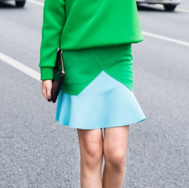 Charlie Green Spliced Neoprene Skirt - HELLO PARRY Australian Fashion Label