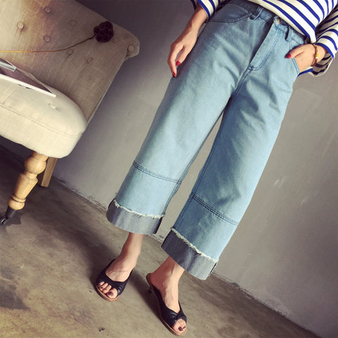 Hailee Denim Two-Tone Culottes - HELLO PARRY Australian Fashion Label