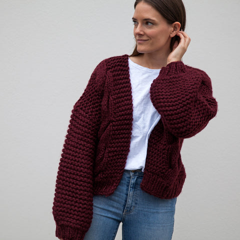 Annie Hand knitted Cable Wool Blend Cardigan - Burgundy (Pre-Order) Ship After 20 July
