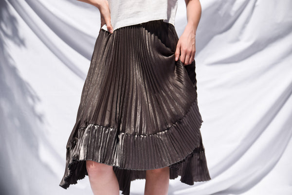 NINA ASYMMETRIC PLEATED SKIRT