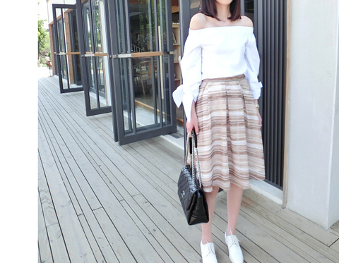 Huntley Natural Striped Ombre Skirt - HELLO PARRY Australian Fashion Label