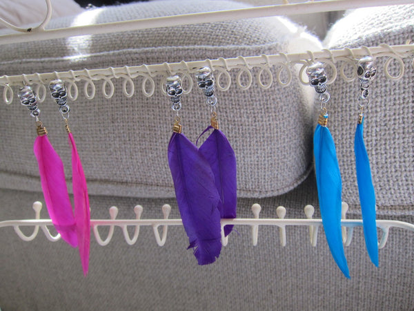 Skull Head Feather Earings - HELLO PARRY Australian Fashion Label