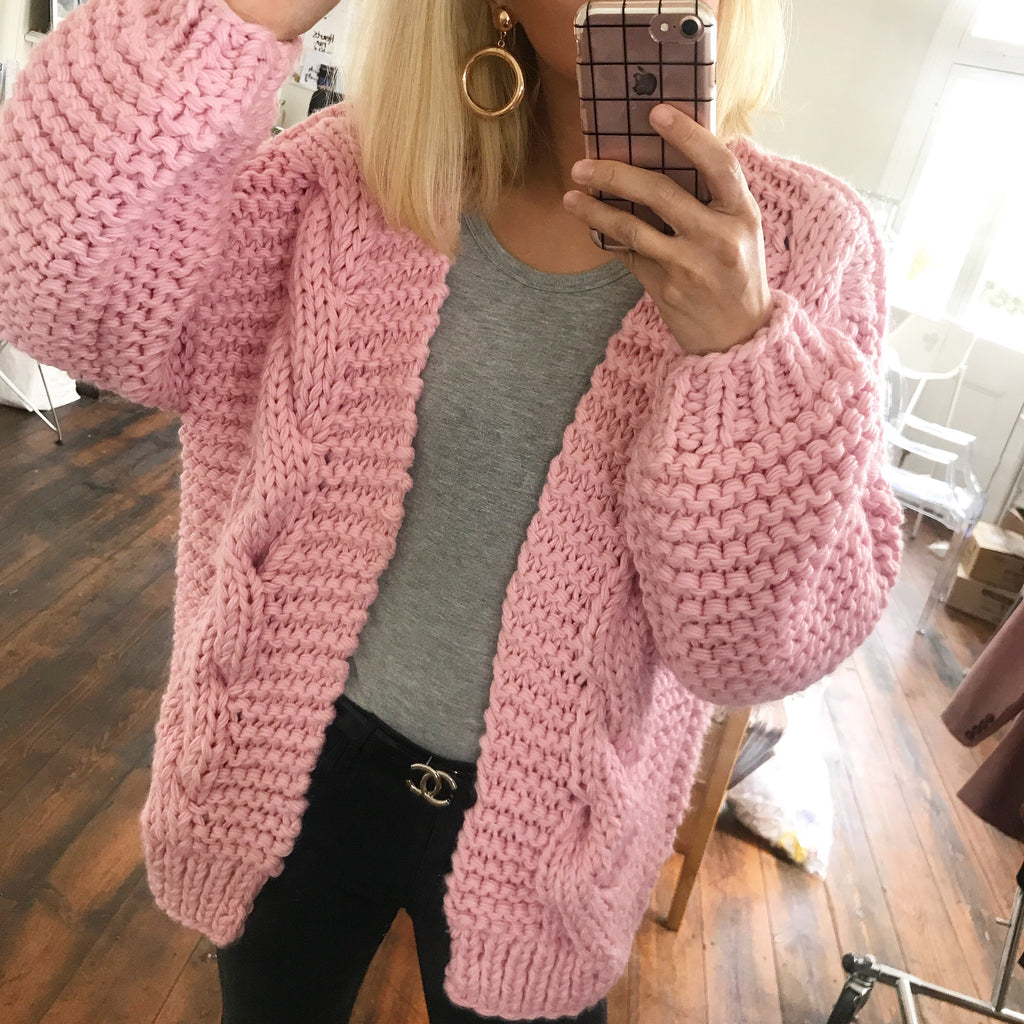 499056e4de99 Annie Hand knitted Cable Wool Blend Cardigan -Pink – HELLO PARRY