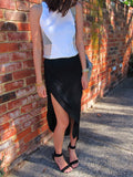 Talia Jersey Midi Skirt With Thigh Split -BLACK