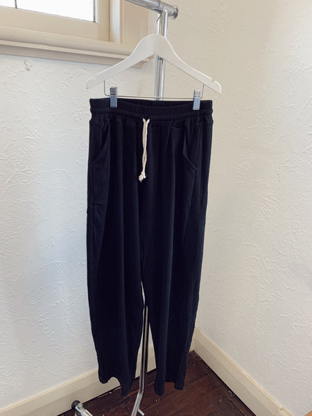 Zaza Ribbed Cotton Pants -Black
