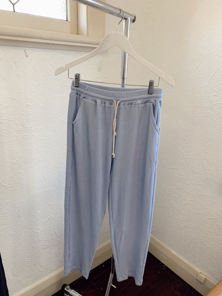 Zaza Ribbed Cotton Pants -Periwinkle