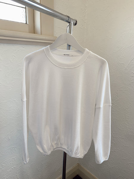 Zaza Ribbed Long Sleeve Top-White