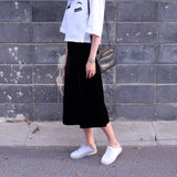 Carly Velvet Midi Skirt- Black