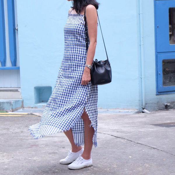Ellie Woven Slip Dress- Blue