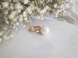 Joan Statement Pearl Crystal Rose Gold Ring - HELLO PARRY Australian Fashion Label