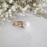 Joan Statement Pearl Crystal Rose Gold Ring