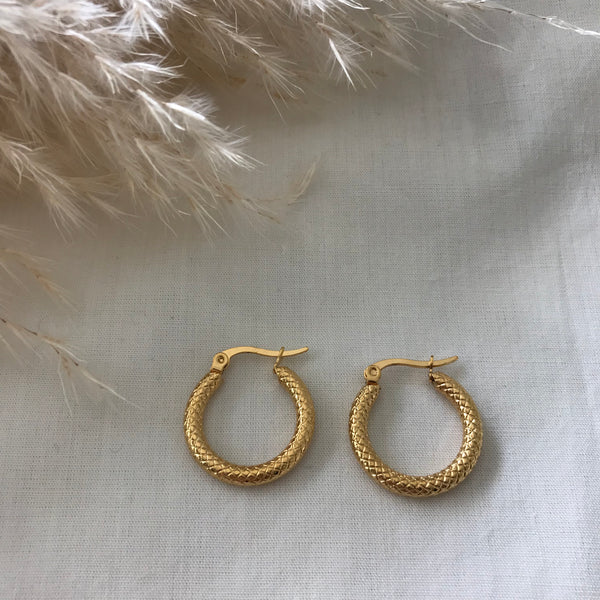 Angie Cross Detail Small Hoops